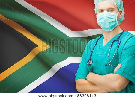 Surgeon With National Flag On Background Series - South Africa
