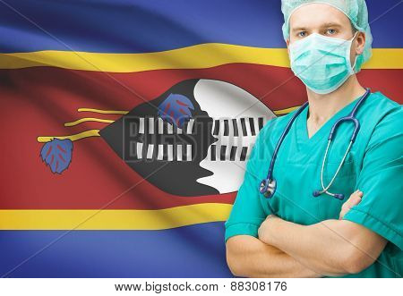 Surgeon With National Flag On Background Series - Swaziland