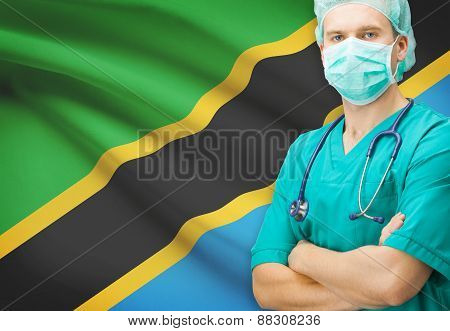 Surgeon With National Flag On Background Series - Tanzania