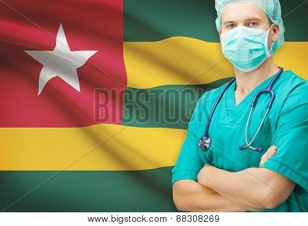Surgeon With National Flag On Background Series - Togo