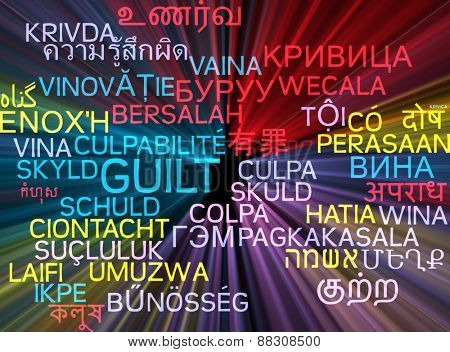 Background concept wordcloud multilanguage international many language illustration of guilt glowing light