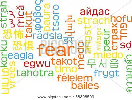 Background concept wordcloud multilanguage international many language illustration of fear