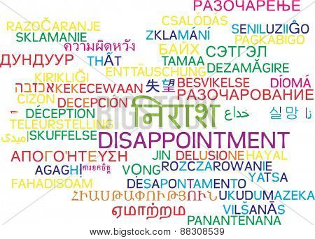 Background concept wordcloud multilanguage international many language illustration of disappointment