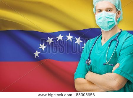 Surgeon With National Flag On Background Series - Venezuela