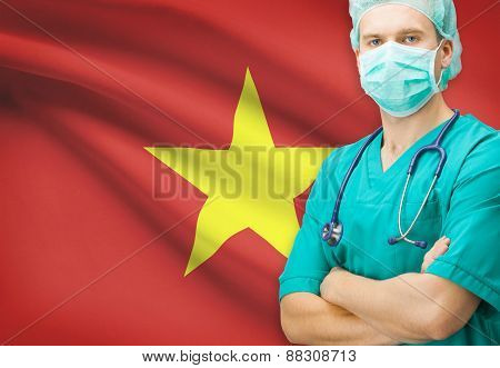 Surgeon With National Flag On Background Series - Vietnam