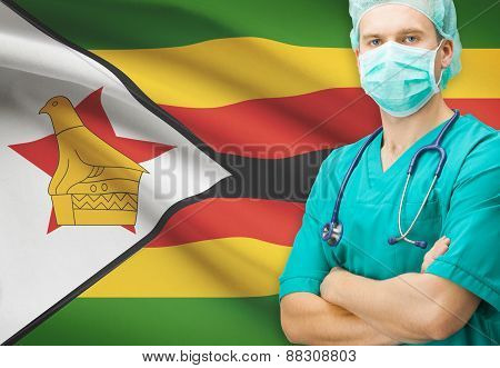 Surgeon With National Flag On Background Series - Zimbabwe