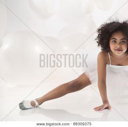 Cute mulatto ballet dancer girl