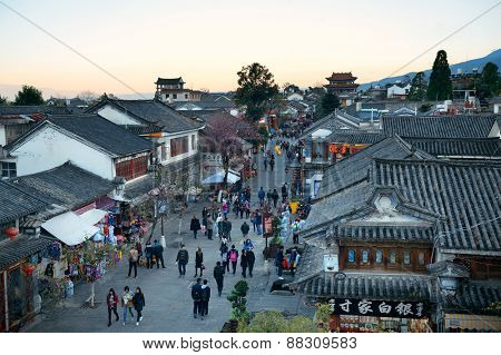 DALI, CHINA - DEC 5: Street view on December 5, 2014 in Dali, China. Dali is the ancient capital of Nanzhao in 8-9th centuries and Kingdom of Dali and major travel attractions in China.