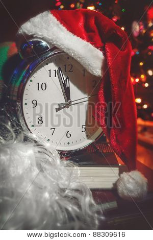 Christmas clock with santa hat.