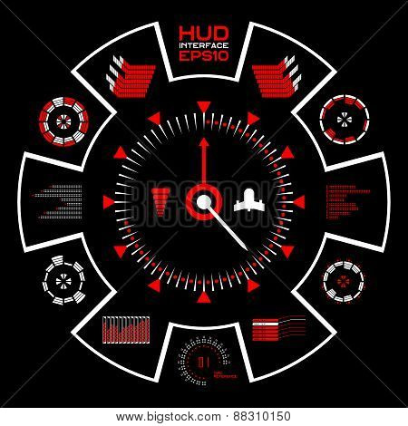 Abstract vector blue virtual graphic touch user interface HUD.