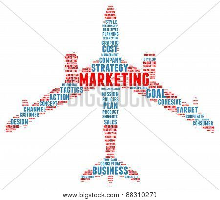 Marketing Jet Plane Shaped Word Cloud