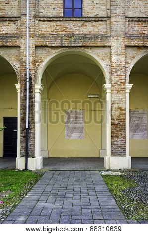 Monastery of Breme, colonnade. Color image