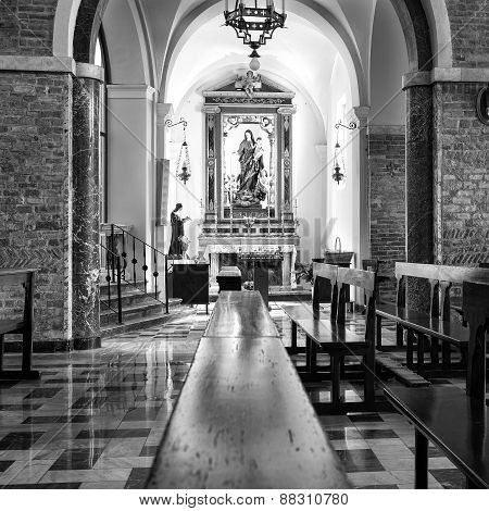Church internal view. Black and white photo