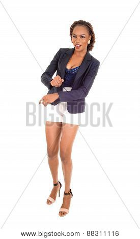 African Woman Standing In White Shorts.