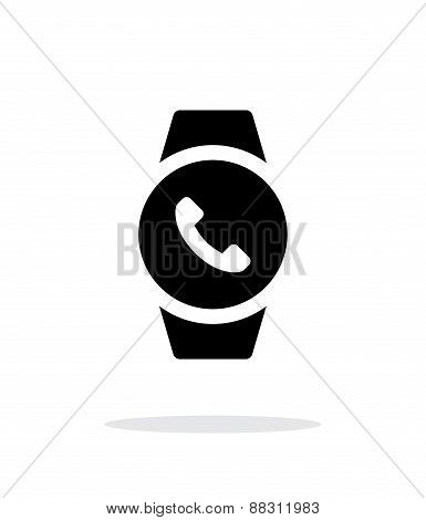 Round smart watch call simple icon on white background.