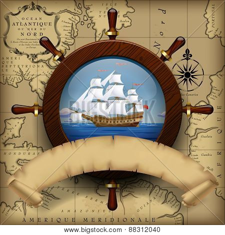 Steering wheel, sailing boat in the sea and parchment ribbon on old chart background.  Navigation travel template