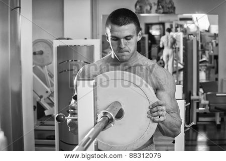 Man in the gym. Working out with weights