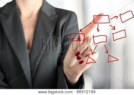 Businesswoman Touching A  Graph By Finger