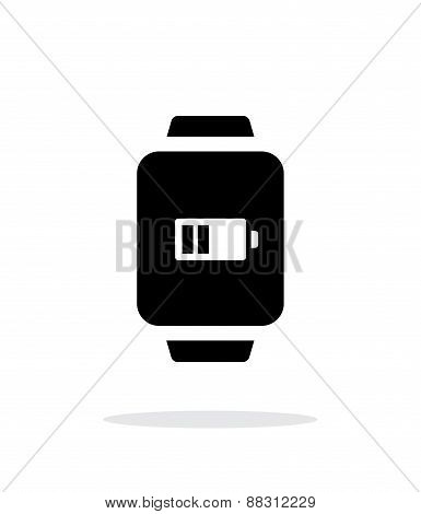Battery charge in smart watch simple icon on white background.