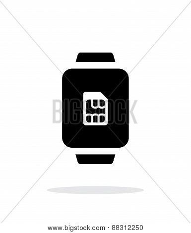 SIM card in watch  simple icon on white background.