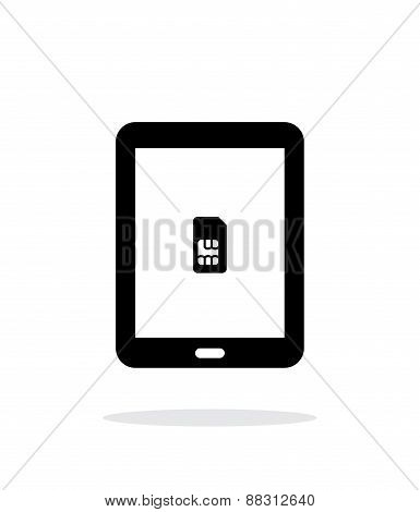 Tablet with SIM simple icon on white background.