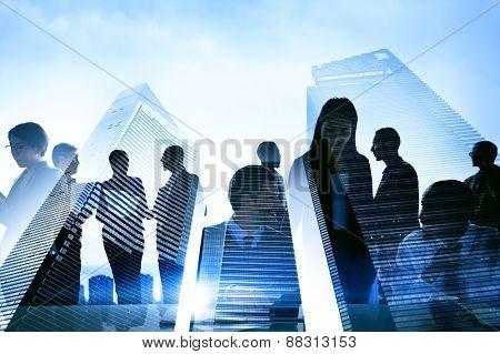 Business People Silhouette Transparent Building Concept