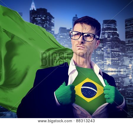 Businessman Superhero Country Brazil Flag Culture Power Concept