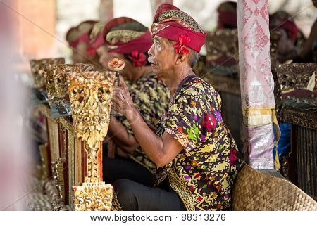 BALI, INDONESIA, DECEMBER, 24,2014: Musicians in the troupe play traditional Balinese music to accompany dancers in a 'Barong Dance show' on December 24, 2014 in Bali, Indonesia