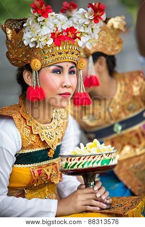 BALI, INDONESIA, DECEMBER, 24,2014: Actress from Barong Dance show, the traditional Balinese performance on December 24, 2014 in Bali, Indonesia