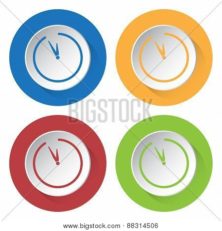 Set Of Four Icons With Clock