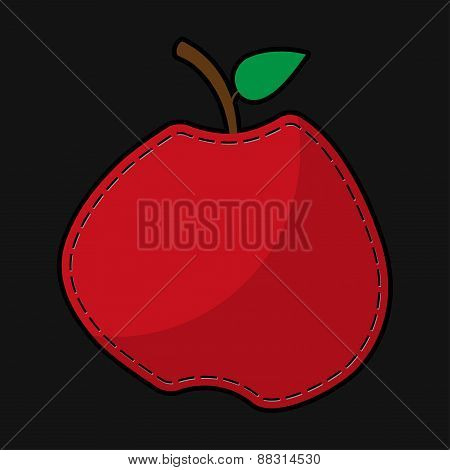 Red Seam Apple With Shadow