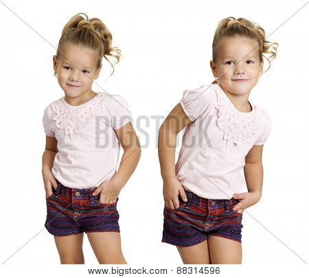 Collage, Portrait of beautiful little girls, studio on white background
