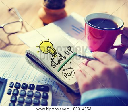 Businessman Notepad Startup Plan Concept
