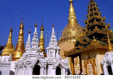 Golden Spires Of Stupas