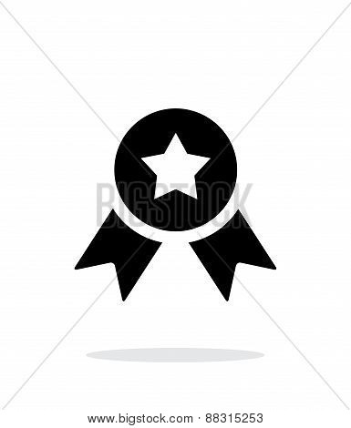 Medal with star simple icon on white background.