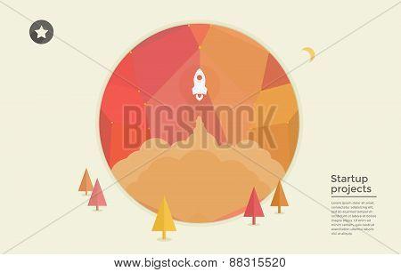 startup rocket in circle
