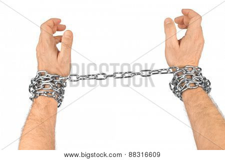 Hands and chain isolated on white background