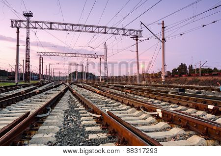 Cargo Train Platform At Sunset. Railway Station