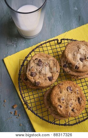 Chocolate Chip Cookies on a rustic cooling rack