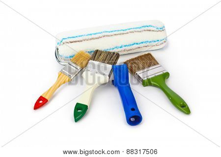 Group of paint brushes isolated on white background