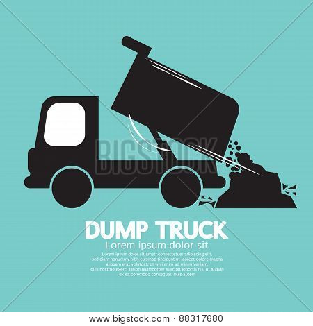 Dump Truck Carried And Unloading Loose Material.