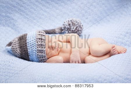 Adorable newborn baby boy sleeping