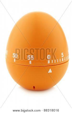 modern orange, plastic kitchen timer on a white background