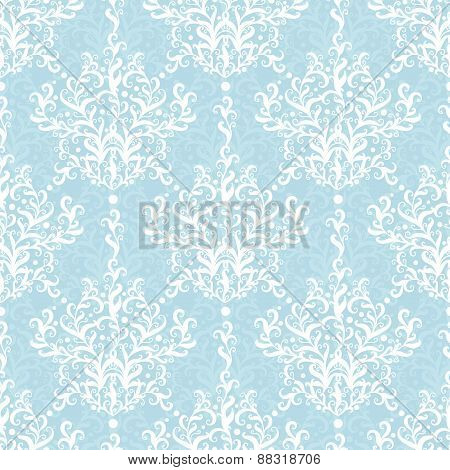 Vintage vector light blue branches damask seamless pattern background