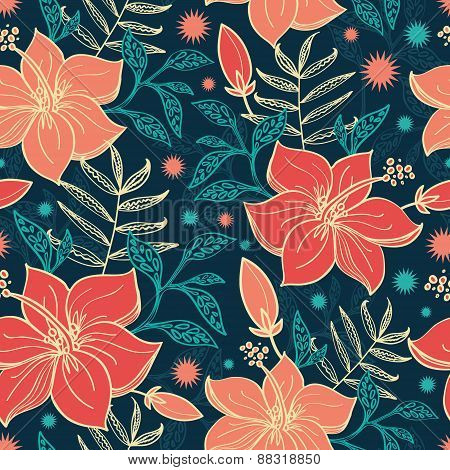 Vector vibrant tropical hibiscus flowers seamless pattern background