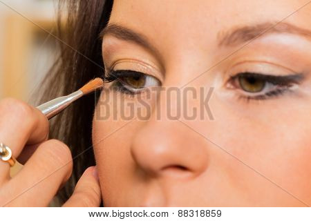 Makeup artist paints the eyebrows model. painting of eyebrows