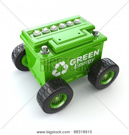 Accumulator or car battery on the wheel. Green energy concept. 3d