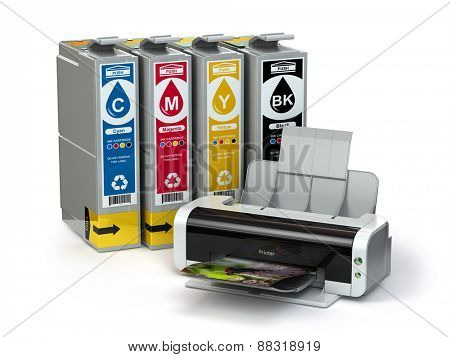 Inkjet CMYK cartridges and printer isolated on white. 3d