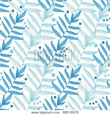 Vector blue line art leaves seamless pattern background