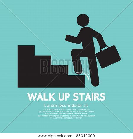 Walk Up Stairs Symbol.